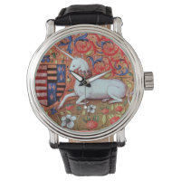 UNICORN AND MEDIEVAL FANTASY FLOWERS,FLORAL MOTIFS WATCH
