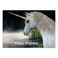 Unicorn And Mist Fantasy Birthday Card