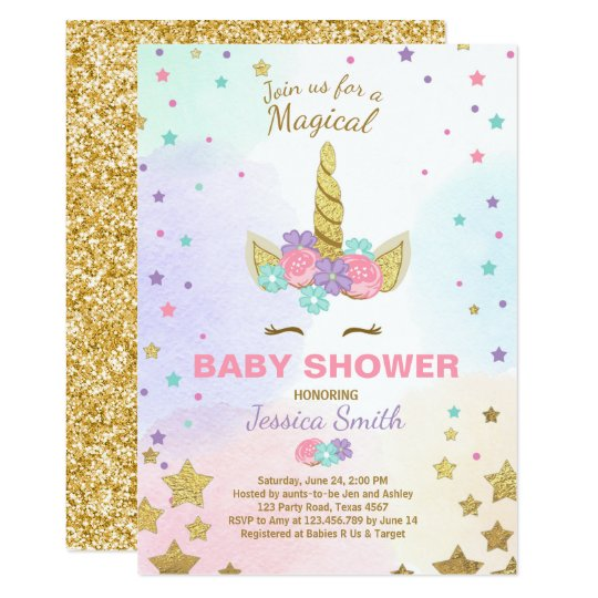 Unicorn Baby Shower Invitation Pink Gold Magical