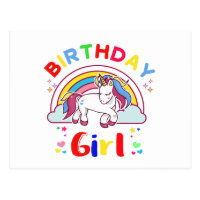 Unicorn Birthday Girl Postcard