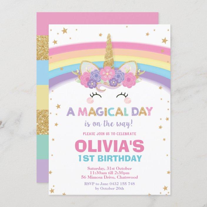 unicorn birthday invitation 1st birthday party zazzle com