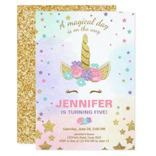 unicorn birthday invitation card template
