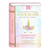 Unicorn Birthday Invitation Pink Gold Magical Book