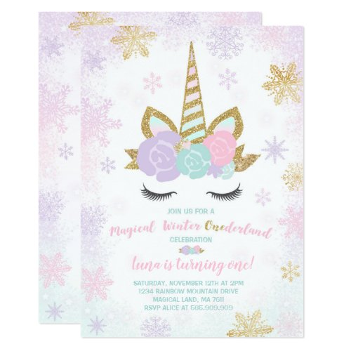 Unicorn Birthday Invitation Winter Unicorn Party
