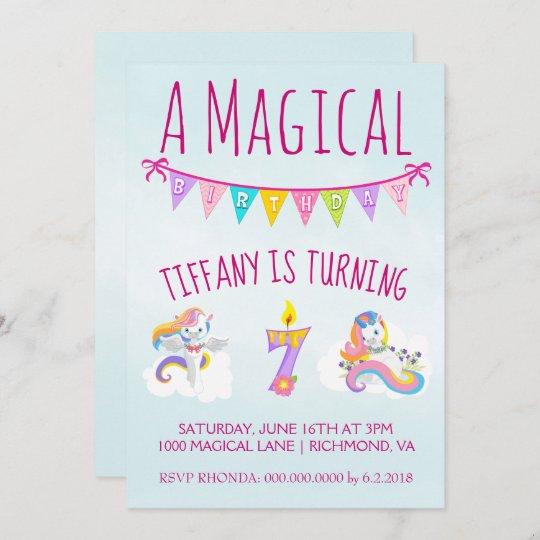 unicorn birthday party for 7 year old invitation zazzle com