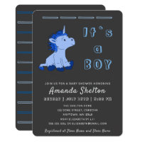 Unicorn Blue Baby Boy Shower Invitation Card