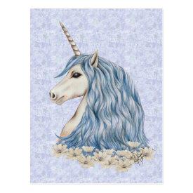 Unicorn Blue Hair Postcard