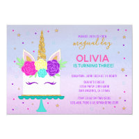 Unicorn Cake Birthday Invitation Pink Purple Gold