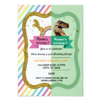 Unicorn & Dinosaur Joint Boy girl Birthday Invites