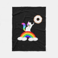 Unicorn Donut Rainbow Cat Fleece Blanket