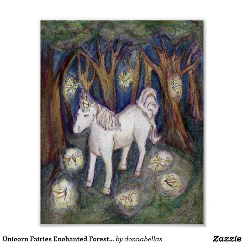 Unicorn Fairies Enchanted Forest Poster Art Print