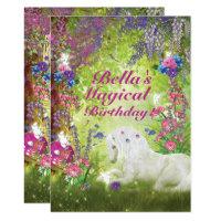 Unicorn Fairy Woodland Birthday Party Card