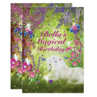 Unicorn Fairy Woodland Birthday Party Card