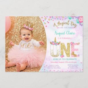 unicorn 1st birthday invitations zazzle