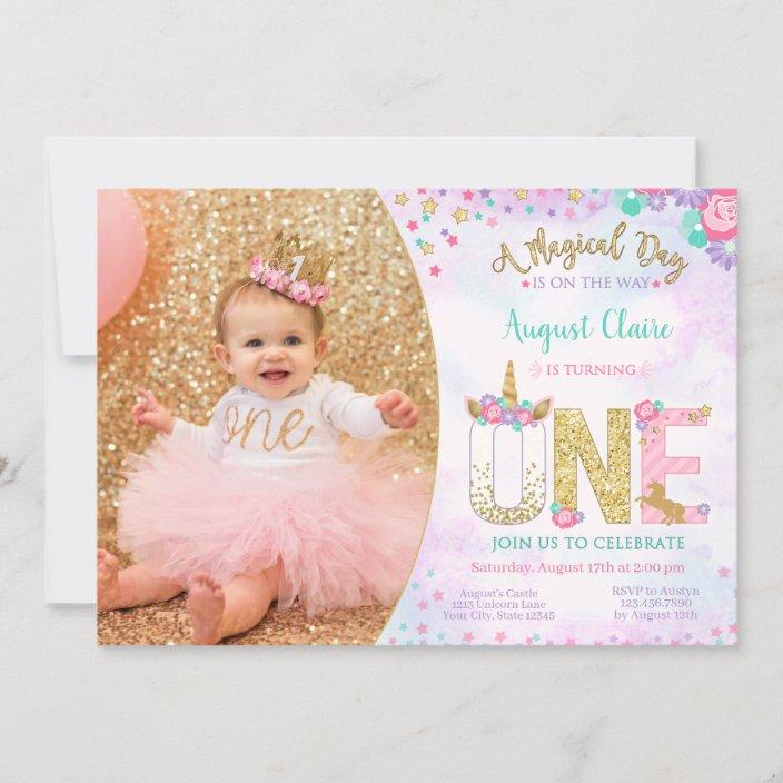 unicorn floral magical 1st birthday invitation zazzle com