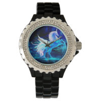 Unicorn Forest Stars Cristal Blue Wrist Watch