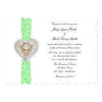 Unicorn Green Lace Wedding Invitation