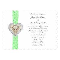 Unicorn Green Lace Wedding Invitation
