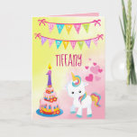 Unicorn Happy 1st Birthday Girl Card
