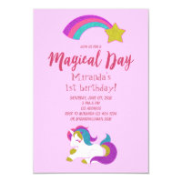 Unicorn magical day birthday party invitation