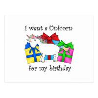 Unicorn on birthday presents postcard