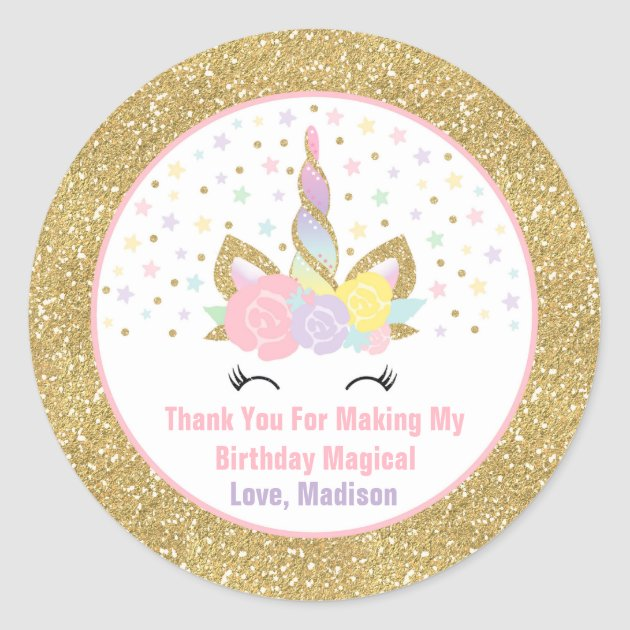 Unicorn Pink Amp Gold Party Favour Tag Sticker Seal