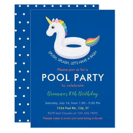 Unicorn Pool Float Pool Party Birthday Invitation