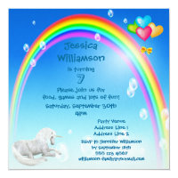 Unicorn, Rainbow Bubbles & Balloons Birthday Party Card