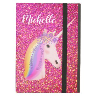 Unicorn Rainbow Pink Glitter Sparkle Personalized Case For iPad Air