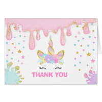Unicorn Slime Thank You Card Unicorn Slime Party