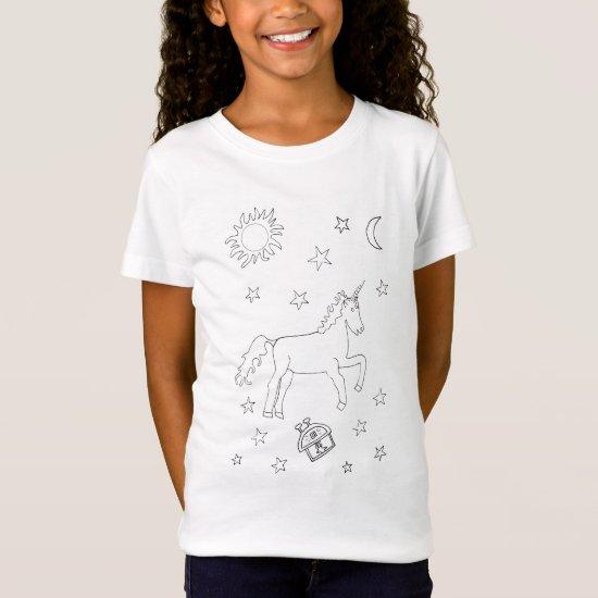 Unicorn Stars Colouring-in T-Shirt