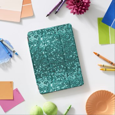 Unique Aqua Blue Faux Glitter Sparkle Print iPad Air Cover