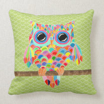 Unique Funky Modern Lime Green Owl Art Cushion Throw Pillow