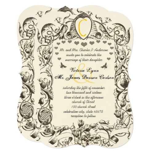 Unique Rustic Bumble Bee Hive Floral Scroll Invitation