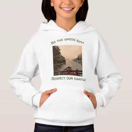 Upbeat Mountain Lake Nature Sweatshirt for Girls