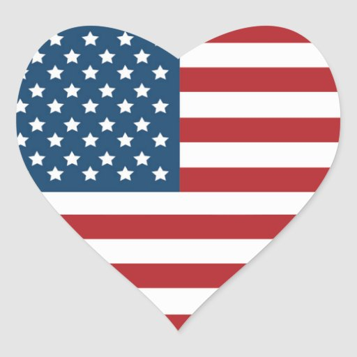 USA American Flag Heart Heart Sticker