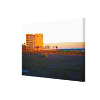 Vacant Lot Next To Beach and Resort At Sunrise Stretched Canvas Prints