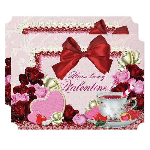 Valentine Birthday Sweetheart Tea Party Invitation