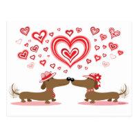 Valentine Dachshunds Postcard