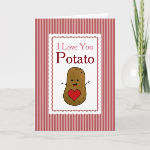 Valentine I Love You Potato, Pink Stripes Holiday Card