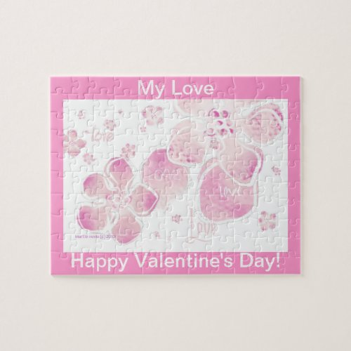 Valentine Love Pink Blossoms Puzzle (Personalize) puzzle