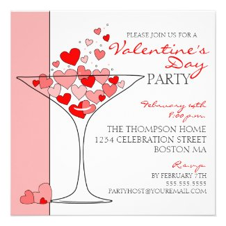 Valentine Party Heart Love Cocktail Invitation