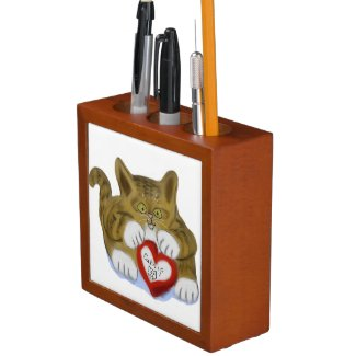 Valentine's Day Present for Tiger Kitten Pencil Holder