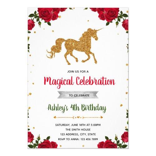Valentine unicorn birthday party invitation