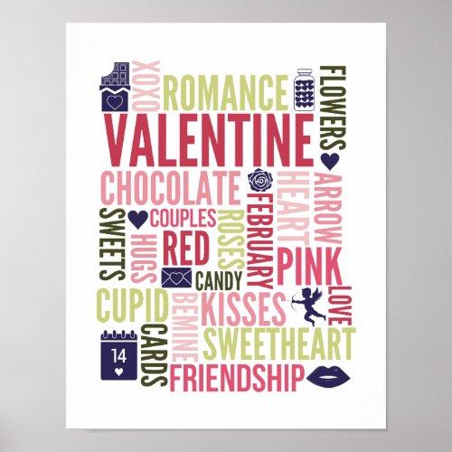 Valentine Words Valentine's Day Poster Sign