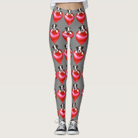 Valentines Boston Terrier dogs art leggings