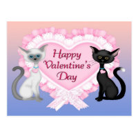 Valentine's Day Cats Postcard