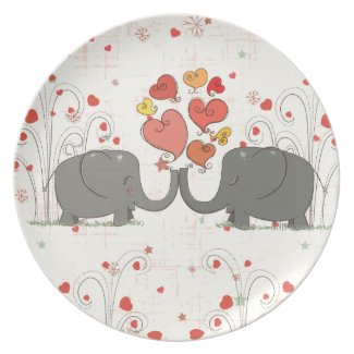 Valentine's Day Elephants Plates