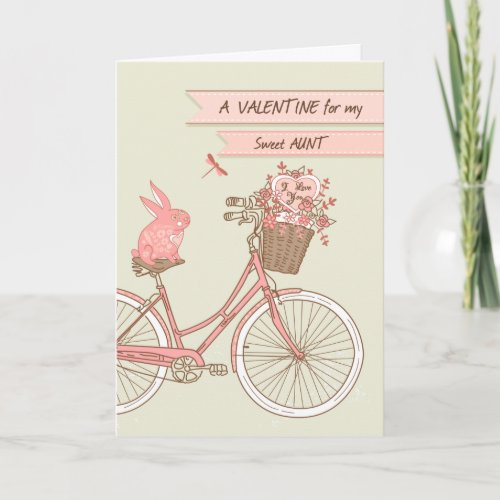Valentine's Day for Aunt, Bicycle, Pink Rabbit Holiday Card