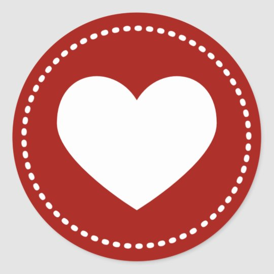 Valentines Day Heart Classic Round Sticker